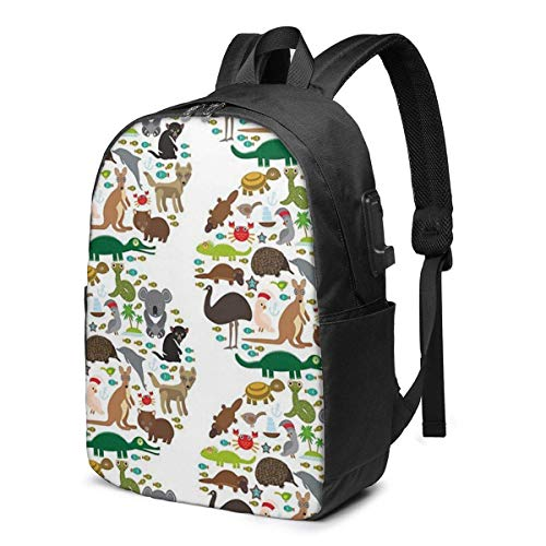 Animals Australia USB School Backpack Large Capacity Canvas Satchel Casual Travel Daypack for Adult Teen Women Men 17in