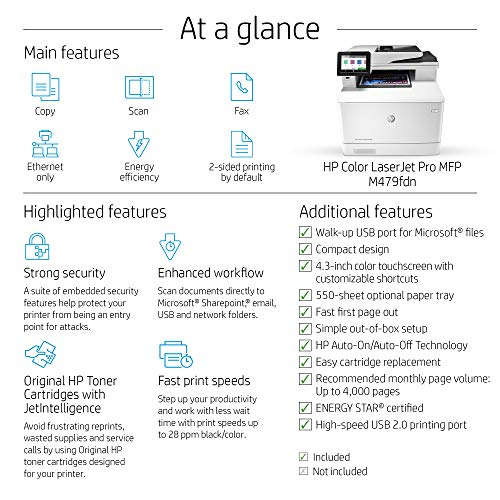 HP Color LaserJet Pro Multifunction M479fdn Laser Printer with One-Year, Next-Business Day, Onsite Warranty, Works with Alexa (W1A79A) – Built-in Ethernet Photo #11