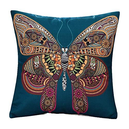 M&F MF 45,7 cm rétro Dessin animé Animal Style National Taie d'oreiller carrée pour Les Cheveux en Lin Coton Canapé Home Decor (éléphant)