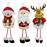 YOSICHY 12 PCS Plush Christmas Tree Ornaments Xmas Decorative Hanging Ornaments Santa Reindeer Snowman for Holiday Party Decor Kids Gifts
