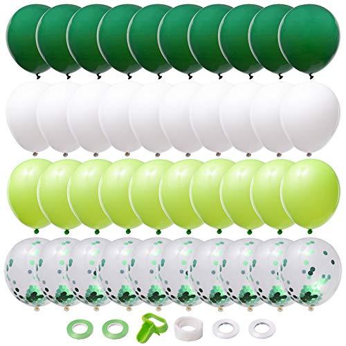 Halcyerdu 86 Piezas Verde de Látex set, Globos de confeti,12 pulgada Globos de Helio, para Fiestas de cumpleaños, fiestas temáticas en el hogar, festivales Decoraciones