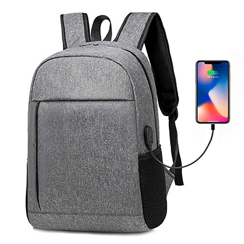 Msbir Business Leisure Charging Shoulder Bag Large-Capacity Multi-Function USB Shoulder Bag Solid-Color Oxford Cloth Computer Backpack 14 Inch Grey Rucksack Unisex Laptop Rucksack Backpack Kinder