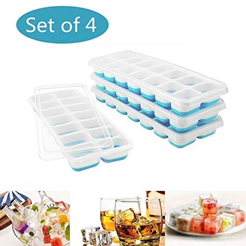 Towinle 4Stk Eiswürfelformen mit Deckel 14-Fach Eiswürfelbehälter mit LFGB Zertifiziert Babynahrung Einfrieren Behälter Eiswürfel Silikon Eiswürfelbox
