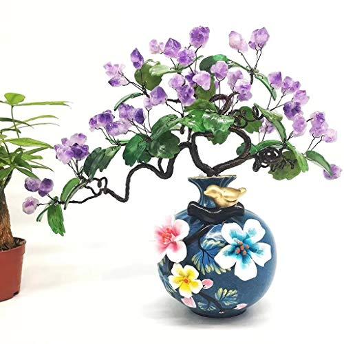 Ornamento de Escritorio Apertura de amatista Cluster Lucky árbol de cristal del...