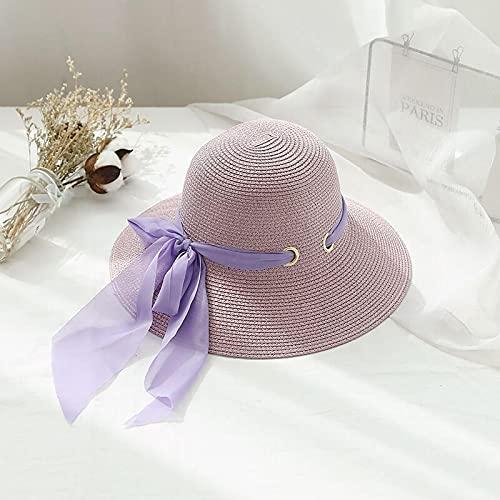 Bywenzai Sombrero para el Sol Cinta Playa Sombrero De Paja Arco Mujer Verano Playa ala Grande Protección Solar Sombrilla Viajes Vacaciones Ocio Salvaje Sombrero para El Sol Púrpura