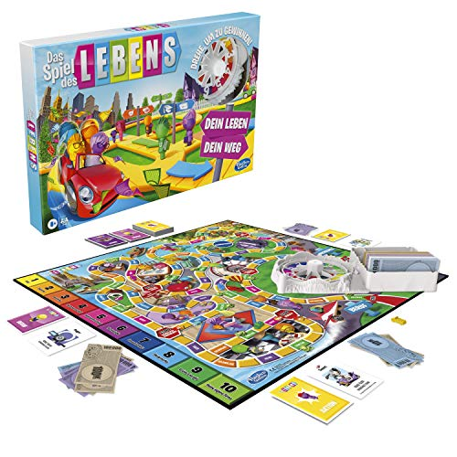 Das Spiel des Lebens, Brettspiel für die ganze Familie für 2 – 4 Spieler, für Kinder ab 8 Jahren, enthält bunte Stifte