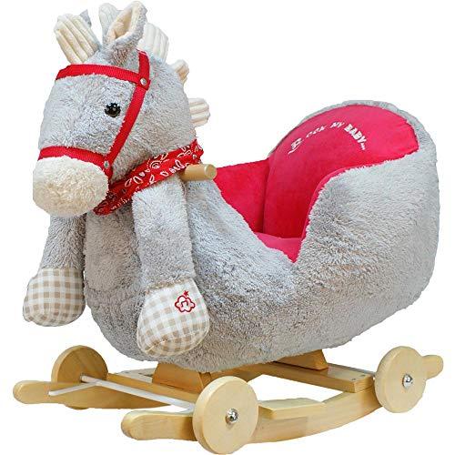 BAKAJI Cavallo a Dondolo in Legno Struttura Basculante con Ruote Cavallino Poni 2 in 1 con Poltroncina e Divertente suoneria per i più Piccoli (Grigio)