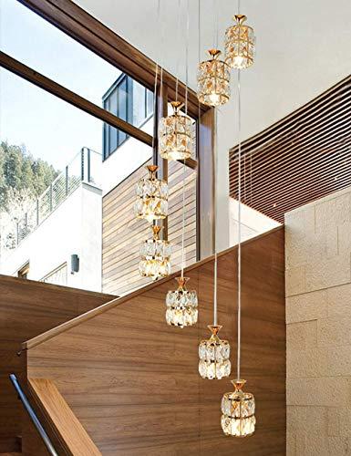 Moderne interieurkroonluchter moderne hanglamp hanglamp lange modern en minimalistisch Villa duplex piano huis breedte plafondlamp van kristal A+