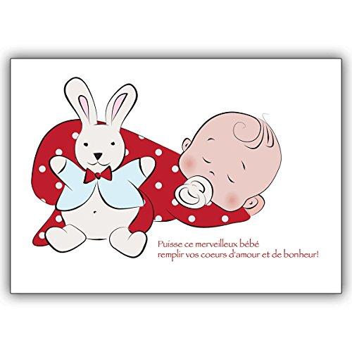 Wenskaarten met korting voor hoeveelheid: Franse babykaart met slapende baby en hakken van textiel: Félicitatie! ... • vrolijke wenskaart, cadeaukaart voor de geboorte om de jonge familie te feliciteren zakelijk & privé 10 Grußkarten