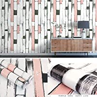 リメイクシート 壁紙 レンガパターン防水自己接着壁紙、リビングルームの背景の壁シミュレーション壁タイル、-Pink_3_0.45 * 10m