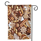 GAJAJAYZXN Cinnamon Christmas Crackers with Nuts Garden Flag Vertical Double Sided for Yard Home 12.5 X 18 Inch,28 X 40 Inch