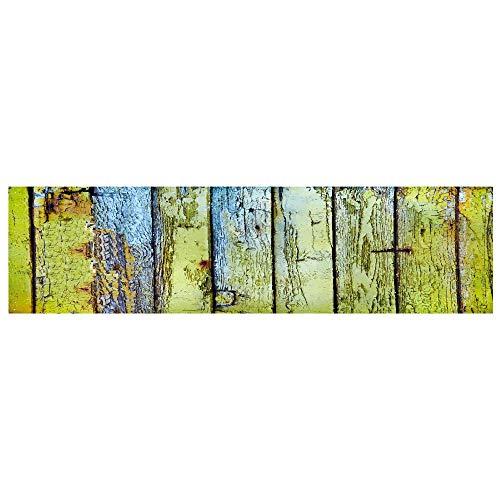 WGOO Carpet Küchenmatten Anti-Rutsch waschbar Innenbereich Teppiche Küchenteppich Küchenläufer Matte Set,Grüne Farbe Holz Plank Print 7MM Dicke Bad Teppich,60X180CM