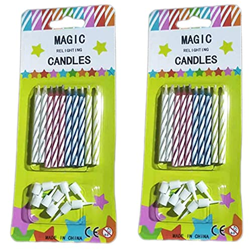 20PCS Magic Trick Relighting Candles Kids Brthday Cake Candle Party Novelty Joke Color Random