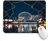 MISCERY マウスパッド 都市の景観シルバードーム球形の幾何学的な建物のフェンスフレーム都市の夜の風景 高級感 おしゃれ 防水 端ステッチ 耐久性が良い 滑らかな表面 滑り止めゴム底 24cmx20cm