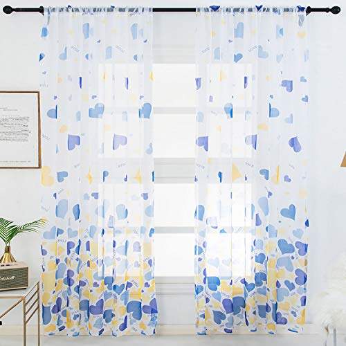 WUBODTI Blue and Yellow Sheer Voile Girls Bedroom Curtains 1 Panel, Multi Colored Heart Pattern Tulle Fabric Kids Curtain Grommet Light Filtering Window Treatments for Living Room Sliding Door