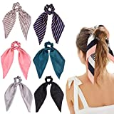 DRESHOW 6 PCS Scrunchies de pelo Bandas de Pelo de Seda Elástica de Satén Ponytail Holder Scrunchy Ties Accesorios de época para Mujeres Niñas