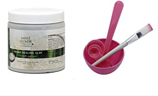 Indian Healing Clay & 4 in 1 Cosmetic DIY Facial Mask Bowl Brush Stick Measure Spoon (1 Lb, Pink)