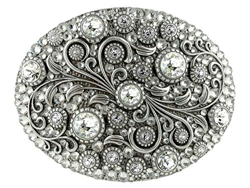 Rhinestone Crystal Belt Buckle Antique Silver Oval Floral Engraved Buckle (FULL-CRYSTALS)