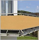 HENG FENG 100X600cm Balcón Pantalla Protección de Privacidad HDPE 180 g/m² Protección UV Resistente al Viento Sujetacables Adjundas para Jardín Balcón Terraza Amarillo Oscuro