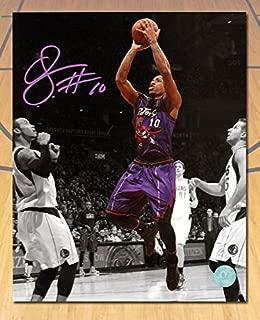 Signed DeMar DeRozan Picture - Retro Purple Spotlight 8x10 - Autographed NBA Photos
