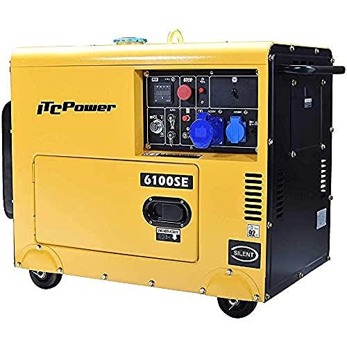 ITC Power NT-6100SE - Generador Diésel (monofásico, 12 L), color amarillo