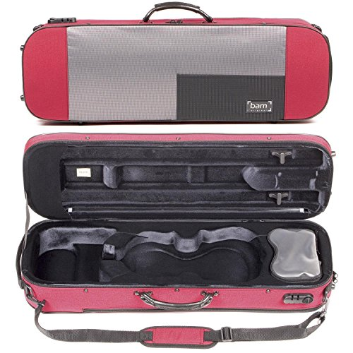 red violin with cases Bam Stylus 5001S 4/4 Violin Case with Red Exterior and Silver Interior