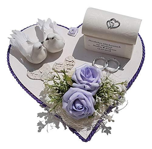 Der-kleine-Dekoladen Geldgeschenk zur Hochzeit Flieder mit Tauben Verpackung für Geld Flitterwochen