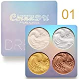 Shouhengda Highlighter Powder Palette 3 Colors High Gloss Shimmer Powder Bronzer Face Contour Powder Pallet Makeup Cosmetic