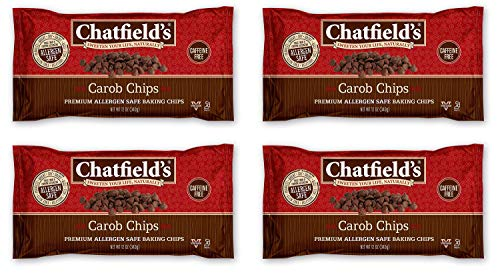Chatfield's Allergen-Safe Carob Baking Chips, Vegan, Kosher, Gluten Nut Dairy and Soy-Free, 12 Ounce Bags, Pack of 4 (3745)