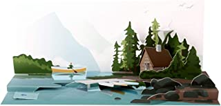Up With Paper Pop-Up Panoramics Sound Greeting Card - Lake Canoe