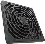 Aerzetix - Griglia di protezione nera Ç15121 120x120 mm ventilazione con filtro 45ppi sacco per ventilatore della computer PC