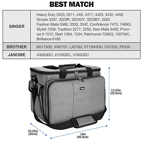 ProCase Sewing Machine Bag Case, Portable Storage Tote Bag Carry Case for Brother, Singer and Janome, with Compartment Pockets and Shoulder Strap –Grey