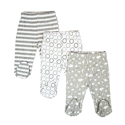 Spasilk baby boys 3 Pack Cotton Pull on Footed Pants, Grey Celestial, Months US