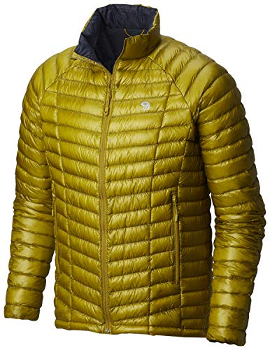 Mountain Hardwear Mens Ghost Whisperer Insulated Down Water Repellent Jacket, Non-Hooded - Dark Citron - S