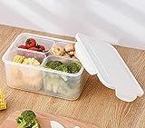 AINEKUI Contenedores de almacenamiento de alimentos, 4 compartimentos, desmontables, armario de cocina, caja de almacenamiento para nevera de cocina