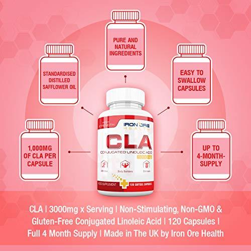 CLA – 1000 bis 3000 mg Pro Dosis – 120 Softgel-Kapseln für Super Muskelaufbau – Unterstützt die optimale Körperzusammensetzung – Die beste Ergänzung für den Körperfettabbau und den Muskelaufbau - 6