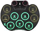 XINRUIBO Tambor electrónico de Mano portátil Tambores de niños para niños para Adultos Principiantes Inicio Hit Boards Tambores eléctricos Tambor electronico (Color : Black)