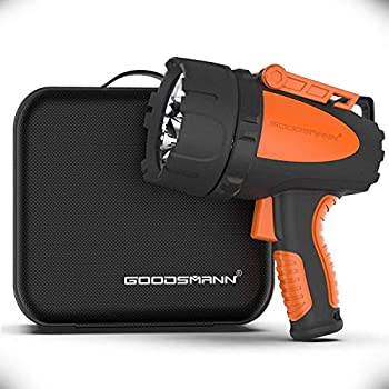 GOODSMANN Rechargeable Spotlight Waterproof Flashlight 4500 Lumen Handheld Searchlight Hunting Light with EVA Carrying Case USB Adapter Car Charger 9924-H101-02