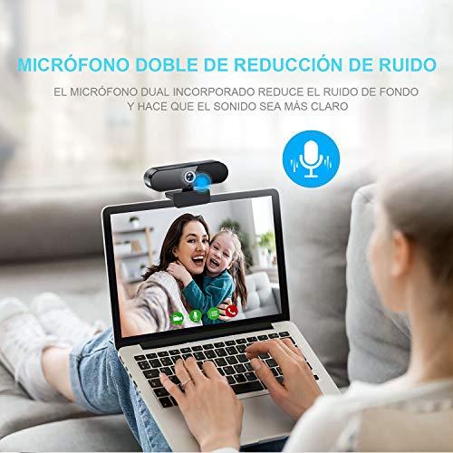 JOYACCESS Webcam para Ordenador, Webcam PC con Micrófono Estéreo Portátil 1080P HD/30pfs Streaming,Cámara Web para Videollamadas, Estudiar en Línea, Conferencia, Compatible con Windows, Mac y Android miniatura