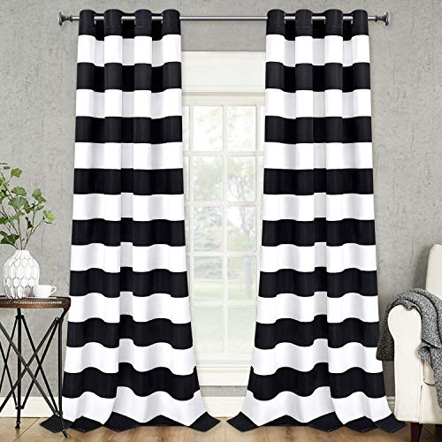 VERTKREA Stripe Window Curtain Striped Room Window Treatment Grommet Curtains 52 × 84 Inches Stripes Drapes for Bedroom Living Room, Black, Set of 2 Panels