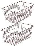 SANNO Wire Storage Baskets Organizer Storage Bins Pantry Food Chest Freezer Basket Bin - Wire Grid Design - for Cabinets, Cupboards, Freezer,Shelves, Countertops - Brown