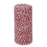 Si tratta di 100M 2mm Spago Multiuso Corda Stringa Filo di Cotone, Materiali per Imballaggio Regalo, Filo Colorato per Quilting Cucito Uncinetto, Fili per Perline Creazione Gioielli, Spago per Applicazioni di Giardinaggio. Colore: Rosso, bianco. Mate...
