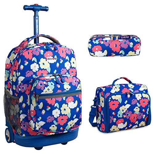 J World New York Sunrise Rolling Backpack & Corey Lunch bag Set (Sunrise w/Casey & Jojo, Petals)