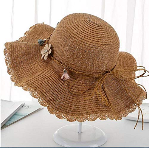 Geekcook Gorras y Sombreros protección UV,Sombrero de Sol Sombrero de Verano Femenino Sombrero Fresco Sombra Sombrero de Pescador Hongo Playa al Aire Libre Sombrero de Sol Flor de Camello_Tall