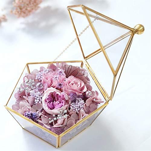 Geconserveerde verse bloem geconserveerde bloem roos eeuwige ware eeuwige roos in delicate metalen doos voor moeder, vriendin Moederdag Valentijnsdag Kerstmis, jubileum handgemaakte bloemenroos