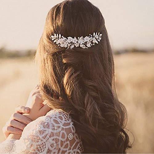 Ubright Peinetas de boda con diseño de flores y perlas para novia, accesorio para el pelo para mujeres y niñas (plata)