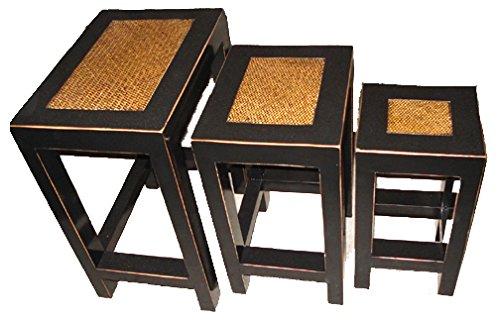 OPIUM OUTLET - Conjunto de 3 taburetes/mesitas, de China, de Madera y ratán, Estilo Colonial Tradicional