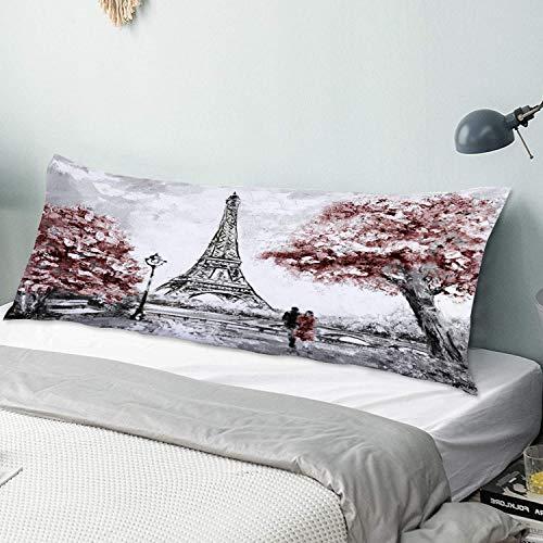 Personalizado Funda de Almohada Larga,Arte Acuarela Ciudad Street View Paris Tender Destino Rosa Abstracto Famoso Artíst,Funda de Almohada para el Cuerpo con Cremallera Sofá para Dormitorio,54' x 20'