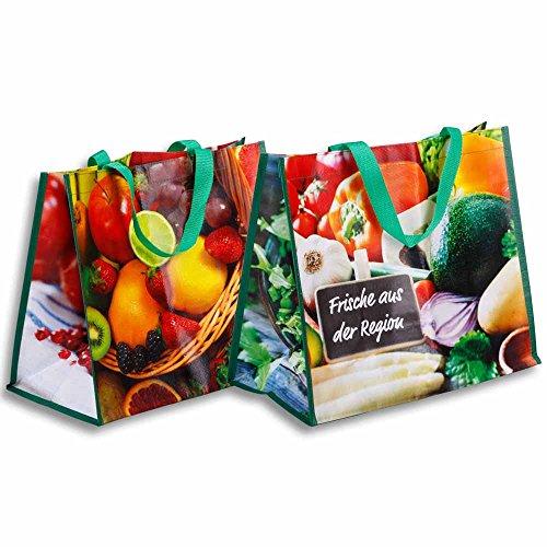 Braspack 10x Permanent-Tragetasche, Motiv Gemüse/Früchte, 180 g/qm, 39 x 21 x 33 cm
