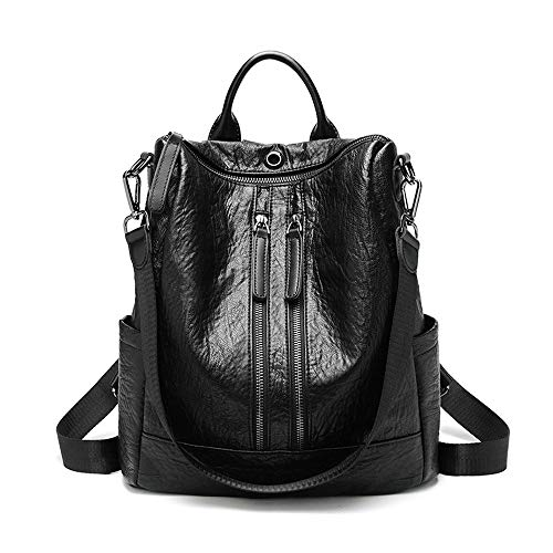Ang-xj Bags women's shoulder bags women's soft leather Korean version of the simple college style school bag multifunctional casual women's backpack,sports trends,sports outdoor bags (Color : Brown)
